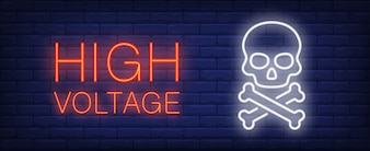 High voltage red and white neon style lettering. Death sign on brick background.