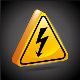 High voltage signs over black background vector illustration