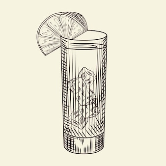Highball glass of alcohol coctail and lime slice. glass of lemonade and ice cubes. engraving style. for bar menu, cards, posters, prints, packaging. vector illustration.