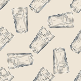 Highball glass seamless pattern. collin glass backdrop. engraving style.