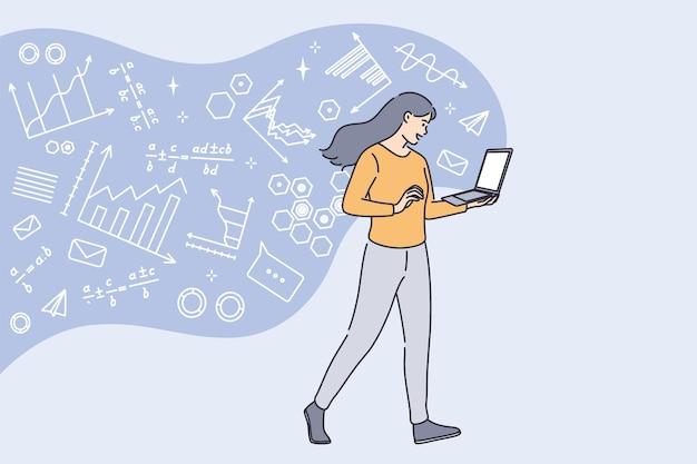 高等教育とオンライン概念の勉強。ノートパソコンの画面のベクトル図で数学をオンラインで学習して立っている若い笑顔の女子学生
