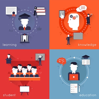 Higher education characters and elements composition set with learning knowledge student isolated vector illustration