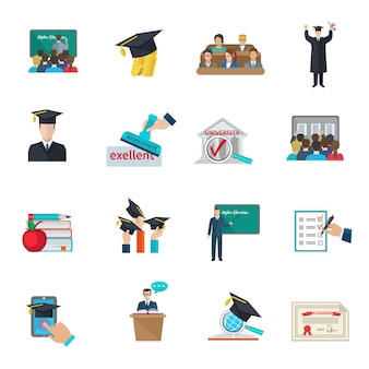 Higher education and graduation with cloaks and academic caps icons set