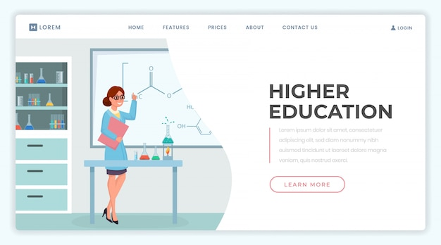 Higher education landing page  template.