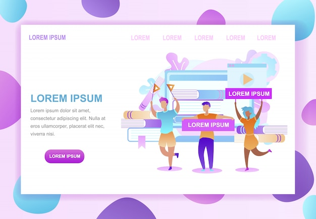 Higher education online vector web page template