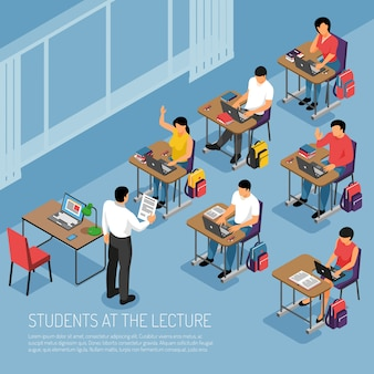 Студенты высших учебных заведений делают заметки на учебной лекции, участвуют в семинаре, семинаре, занятиях, изометрической композиции, векторная иллюстрация