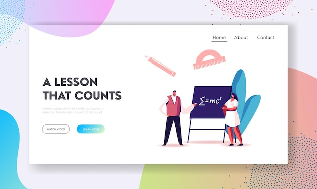 Higher education in university or college landing page template.