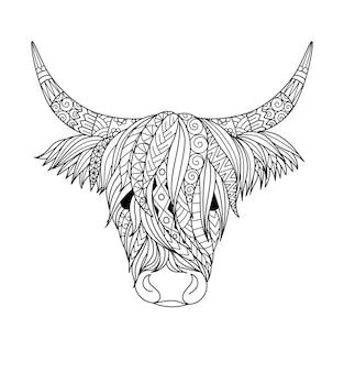 塗り絵、塗り絵、tシャツのデザインなどのためのハイランド牛のデザイン。ベクトルイラスト