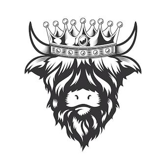 Король коровы хайленда с дизайном головы короны на белой предпосылке. животное на ферме. коровы логотипы или значки. векторные иллюстрации.