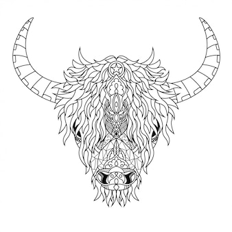 Highland cow mandala zentangle illustration in lineal style