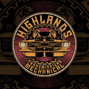 Highland mechanical of vintage car with circle and piston background