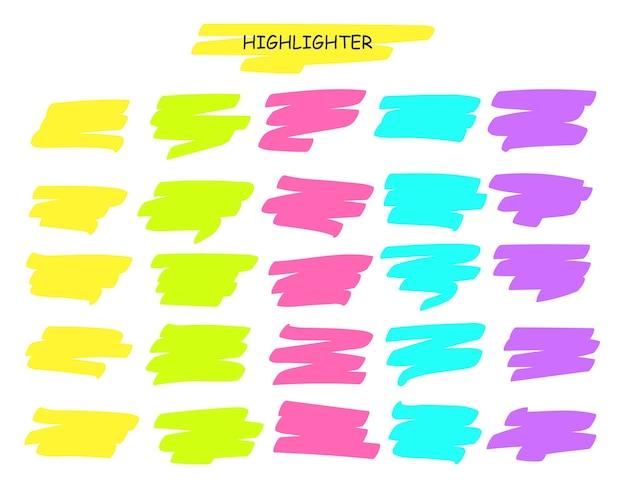 브러쉬 선을 강조 표시합니다. 손으로 그린 노란색 형광펜 펜 스트로크 라인 단어 밑줄.