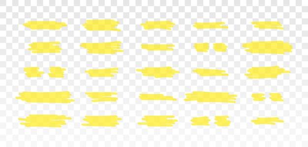 브러시 라인 강조 표시 노란색 형광펜 마커 선