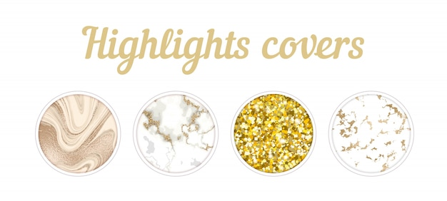 Highlight cover big set, minimal marble texture