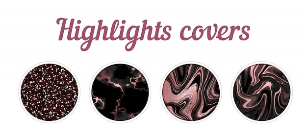 Highlight cover big set, minimal pink marble texture background