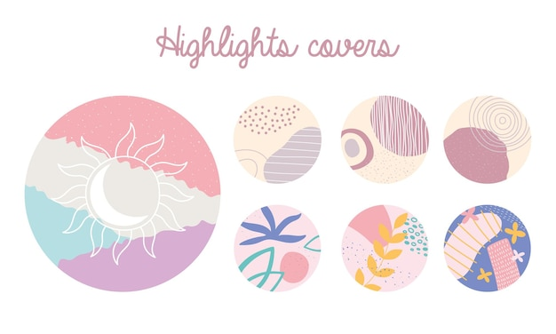 Highlight cover different shapes abstract floral elements  illustration