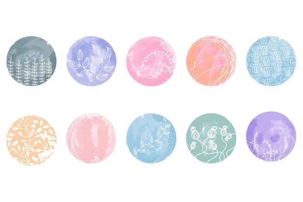 ハイライトカバーセット、ソーシャルメディア用の抽象的な花の植物アイコン。ベクトルイラスト。水彩デザイン。 instagramストーリーハイライトのセットはアイコンをカバーしています。カラフルな水彩画の背景