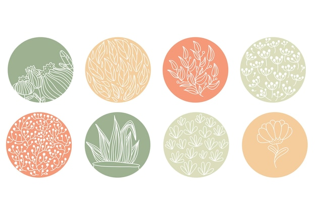 Выделите набор обложек, абстрактные цветочные ботанические иконки для социальных сетей. векторная иллюстрация