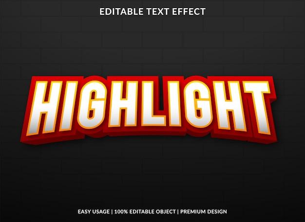 Highlight editable text effect template premium vector