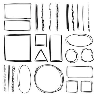 蛍光ペン、円、下線。鉛筆マークのイラストセット。手描きの絵。スケッチ下線マーカー、黒いスケッチ蛍光ペンのイラスト