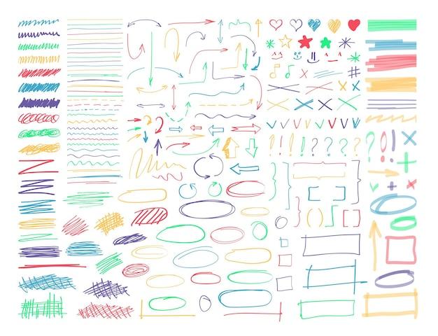 형광펜 마커 선, 화살표, 곡선, 체크 표시 및 테두리. 스케치 영구 스트라이프, 비네팅 및 페인트 브러시, 연필, 흰색 배경에 고립 된 펜 낙서 요소 벡터 일러스트 레이 션의 집합