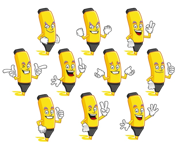 Highlighter mascot vector pack, highlighter character set