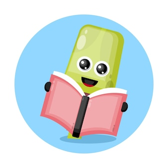 Маркер чтение книги милый персонаж логотип