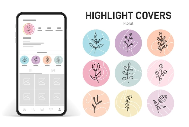 Highlights cover posts and stories for social media with plants background