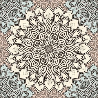 Highly detailed mandala seamless pattern in a pastel tones. ethnic motive.