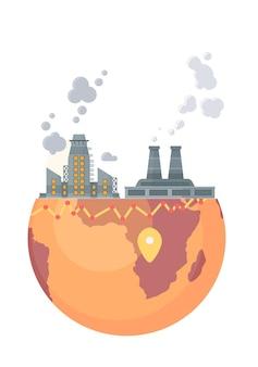 Сильно загрязняющий завод завод с коптильными башнями и трубами