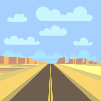 플랫 스타일의 고속도로와 산 풍경.