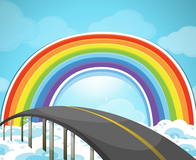 空のハイウェイと虹