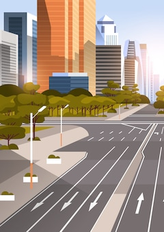 Highway asphalt road with marking arrows traffic signs