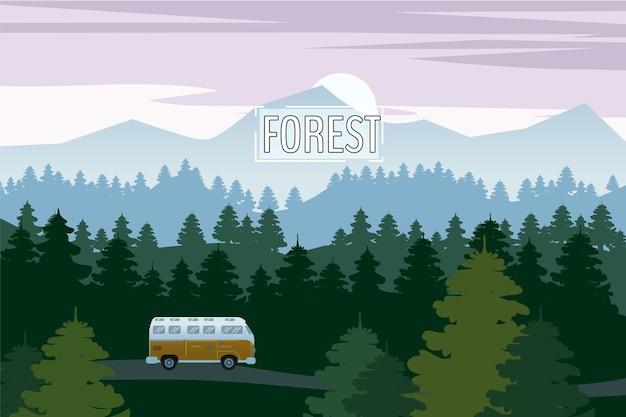 아름다운 가문비 나무 숲 풍경과 고속도로 드라이브 밴. 산 수평선