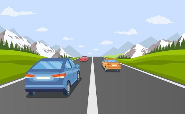 美しい風景と高速道路ドライブ。