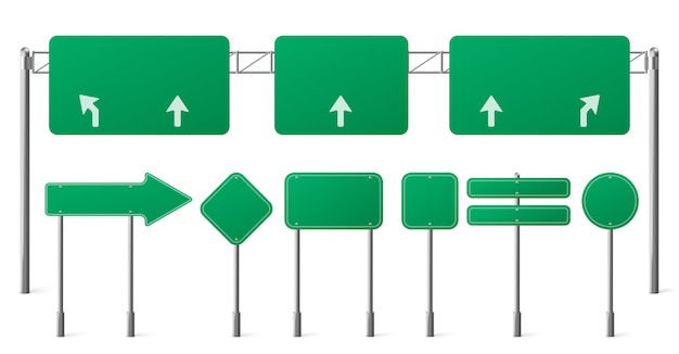Highway green road signs, blank signage boards on steel poles for pointing city traffic direction