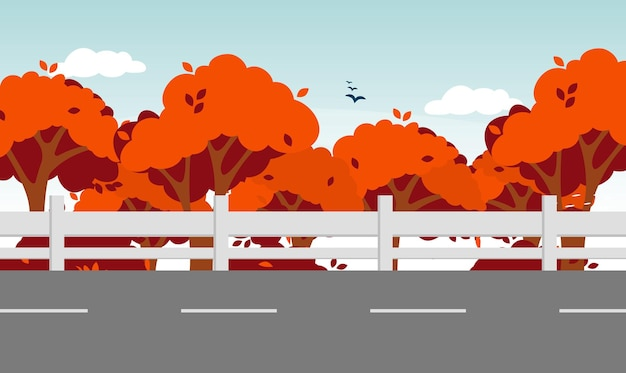Шоссе дорога осенний пейзаж. естественный лесной пейзаж. векторная иллюстрация природы листвы падения.