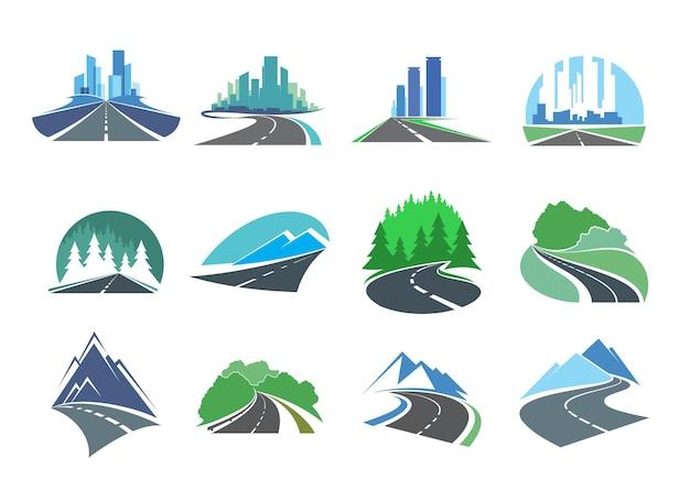 Шоссе, подъездные пути или символы автострады с горизонтом города, лесом и горами. векторные эмблемы с мегаполисом, сельской асфальтовой дорогой, автострадой и тропой с небоскребами на горизонте, елями