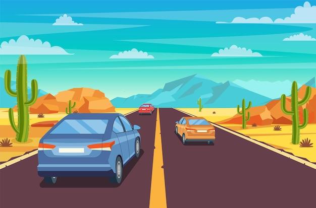 砂漠の高速道路。 Premiumベクター