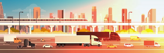 Highway road with cars, lorry and cargo trucks over city background traffic concept