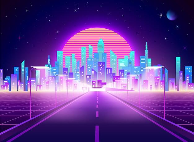 サイバーパンクの未来的な町への高速道路