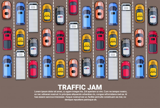 Highway traffic jam top above view with road full