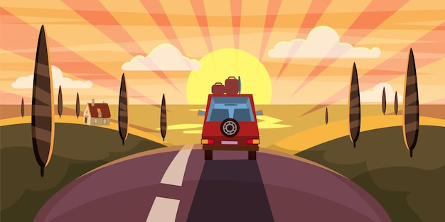 Highway travel summer sunset sea road  to sea ocean car cute landscape cartoon style poster
