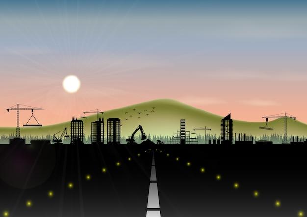 건설 현장 및 산 풍경과 고속도로