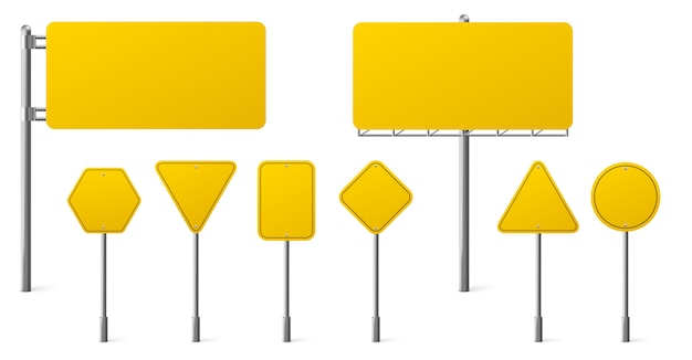 Highway yellow road signs, blank signage boards on steel poles pointing city traffic direction