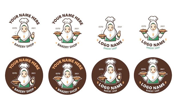 Hijab bakery shop logo sets
