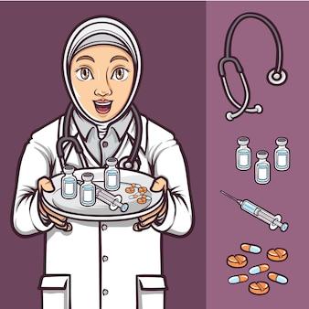 Hijab female doctor show medicine and vaccine covid19 illustration