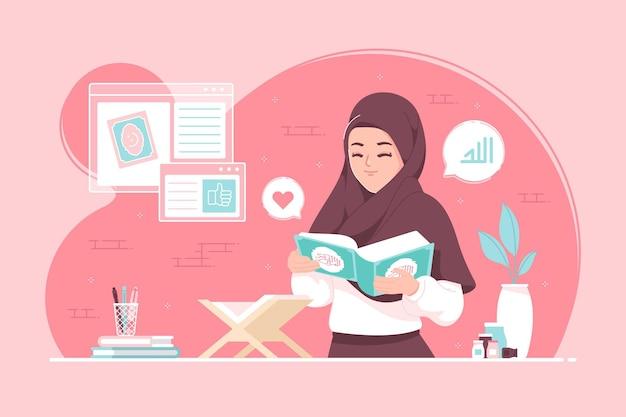 ヒジャーブの女の子はコーランを読むことを学ぶ