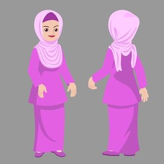 ヒジャーブの女性立ちポーズ正面図と背面図