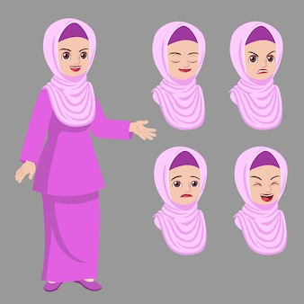Hijab lady standing pose with difference face expression set